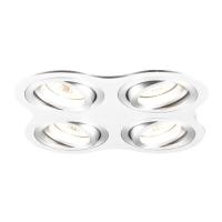 Spot de Embutir 4x Dicróica Redondo em Alumínio Branco Ouse Direcionável C 172mm NS56004B  Bella Iluminação
