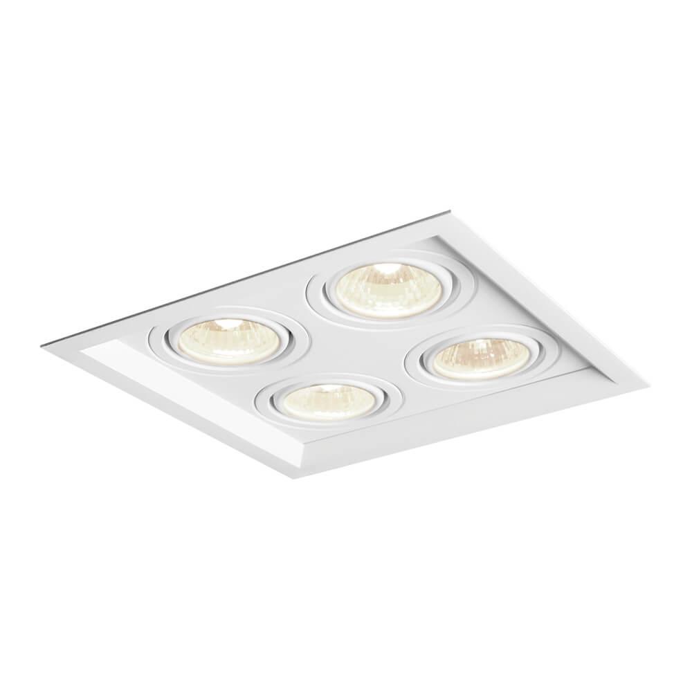 Spot de Embutir Quadrado Recuado Orientável em Alumínio 4x PAR30 IN51364  Newline