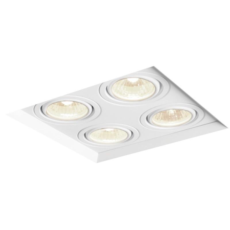 Spot de Embutir Quadrado Recuado Orientável em Alumínio No Frame 4x Dicróica IN60324  Newline