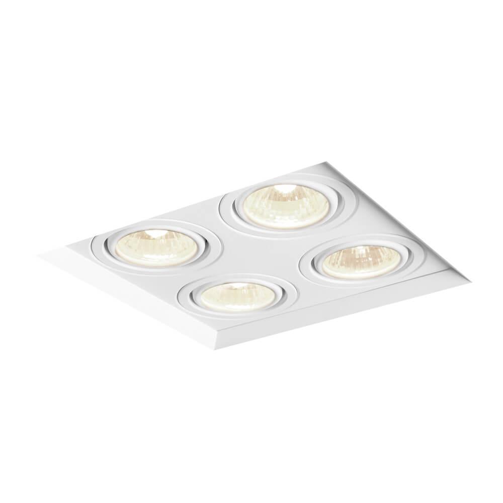 Spot de Embutir Quadrado Recuado Orientável em Alumínio No Frame 4x PAR20 IN60334 Newline