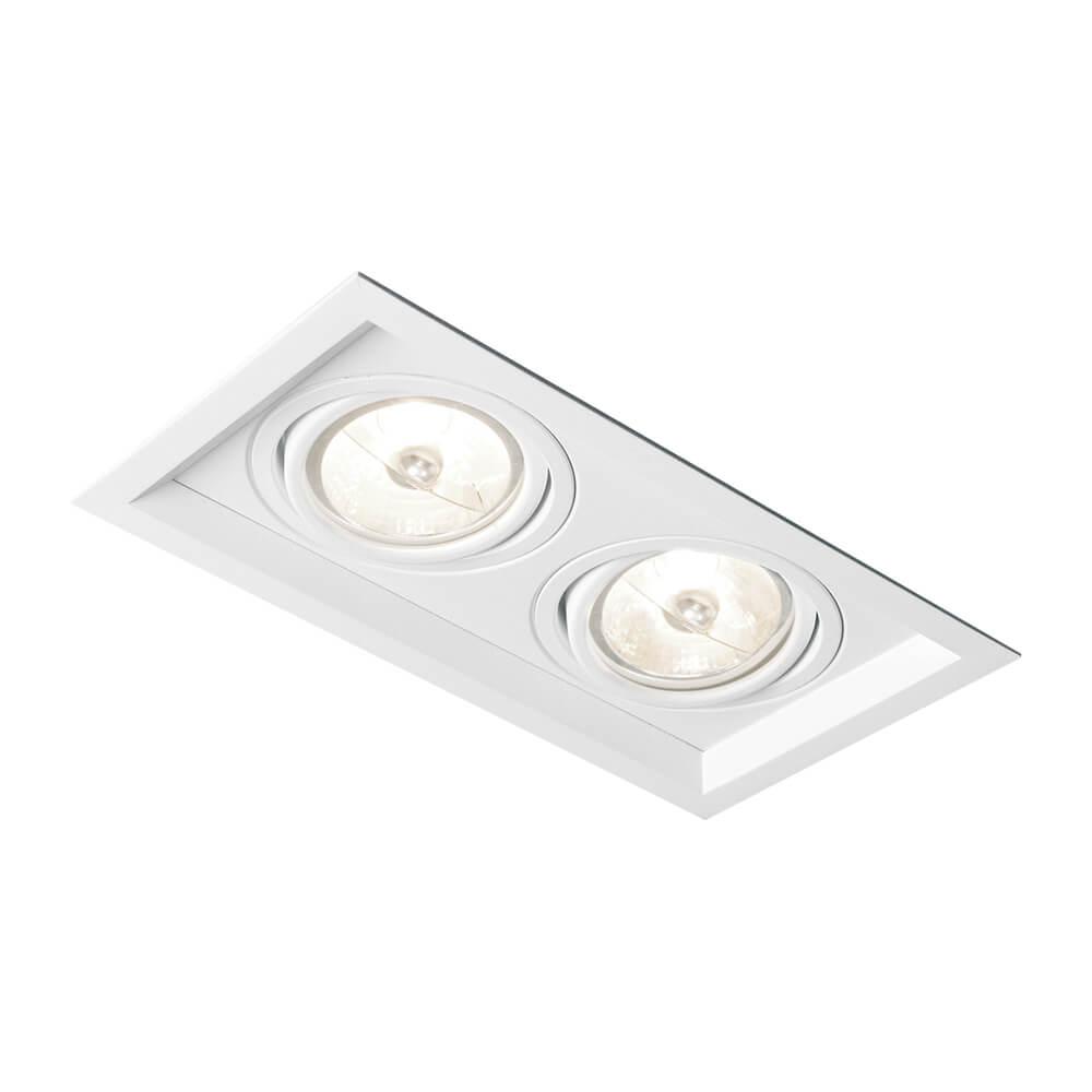 Spot de Embutir Retangular Recuado Orientável em Alumínio 2x PAR30 IN51362  Newline