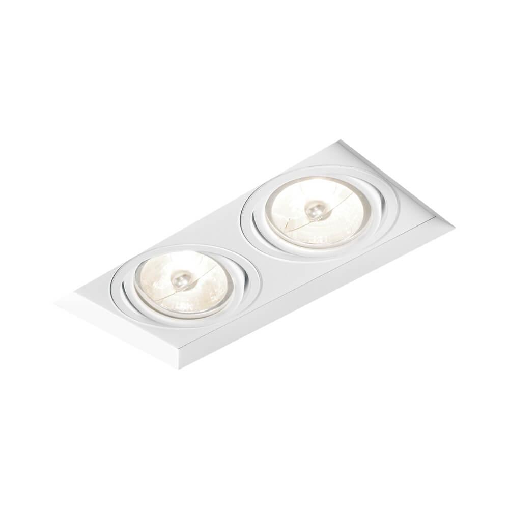 Spot de Embutir Retangular Recuado Orientável em Alumínio No Frame 2x AR111 IN61352  Newline