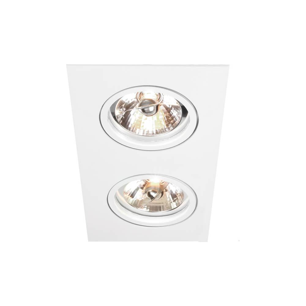 Spot de Embutir Retangular Rente Orientável em Alumínio 2x AR111 IN55552  Newline
