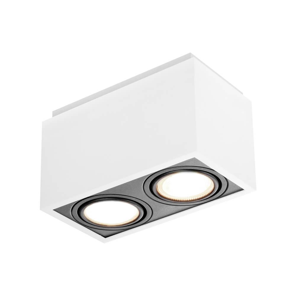 Spot de sobrepor Retangular Box Rente Orientável em Alumínio 2x PAR20 IN40132  Newline