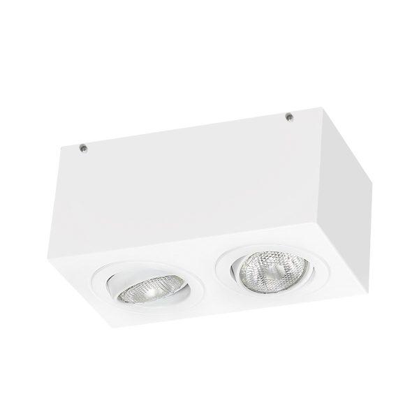 Spot de Sobrepor Retangular Rente Orientável em Alumínio 2x PAR20 2012/2 Itamonte
