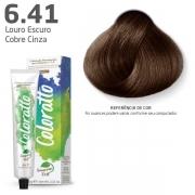 Coloração Permanente e Tonalizante sem Amônia Coloratto - Marrom Louro Escuro Cobre Cinza 6.41- 60g