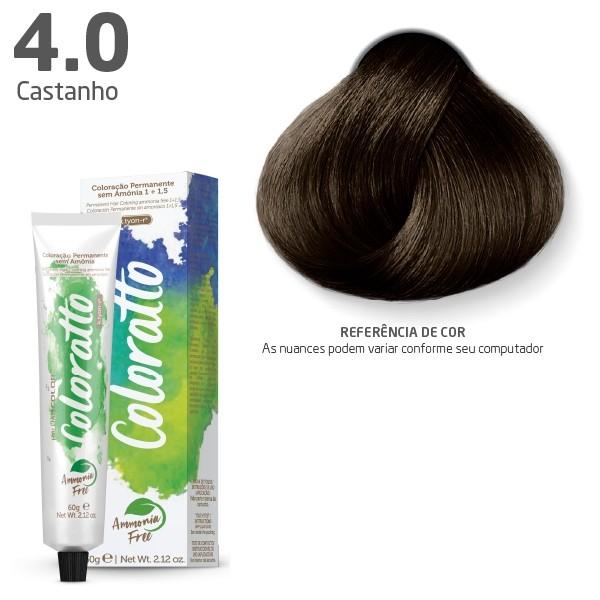 Coloração Permanente e Tonalizante sem Amônia Coloratto - Castanho 4.0 - 60g