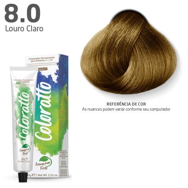 Coloração Permanente e Tonalizante sem Amônia Coloratto - Louro Claro 8.0 -  60g