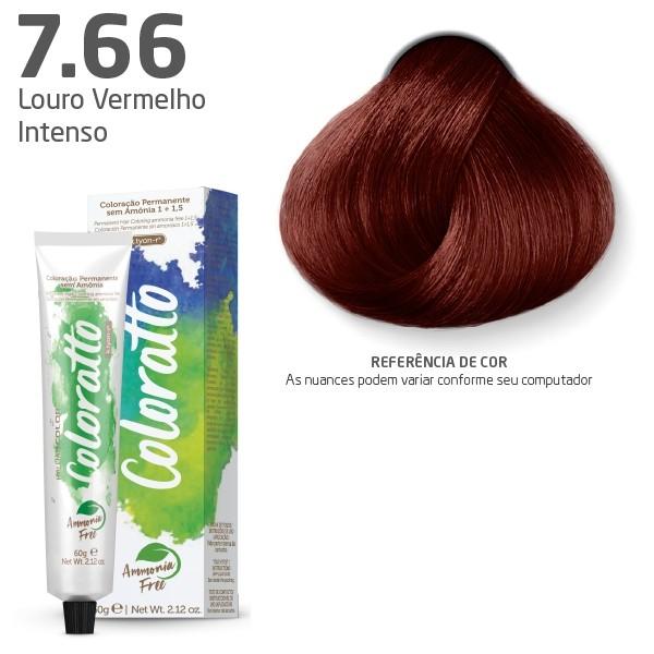 Coloração Permanente e Tonalizante sem Amônia Coloratto - Louro Vermelho Intenso 7.66 - 60g