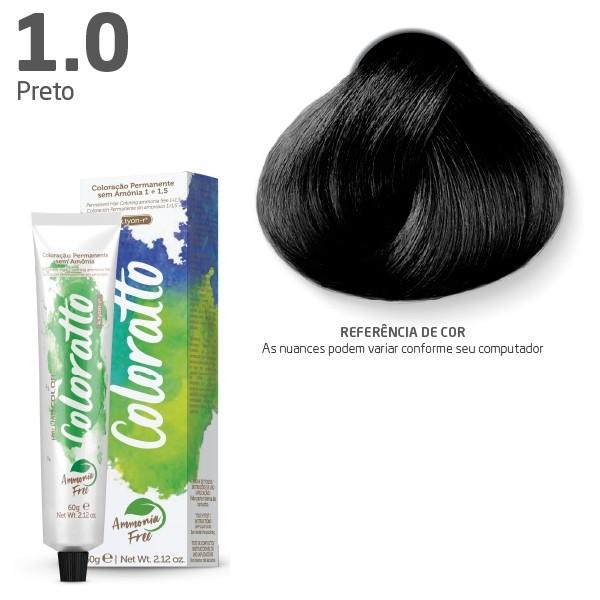Coloração Permanente e Tonalizante sem Amônia Coloratto - Preto 1.0 - 60g
