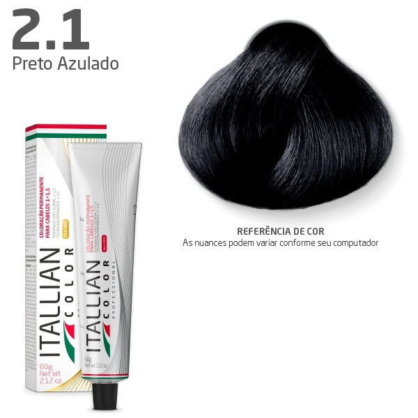 Coloração -  Preto Azulado 2.1 - Itallian Color 60g