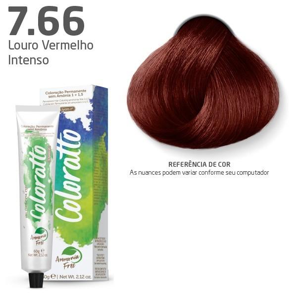 Coloração sem Amônia - Louro Vermelho Intenso 7.66 - Coloratto  60g