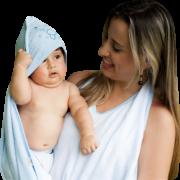 Toalha Avental com fralda para o banho do bebê