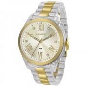 Relógio Lince Analógico Urban Transparente e Dourado Feminino LRT4473P