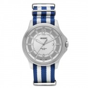 Relógio Orient Prata e Pulseira de Lona Masculino MBSN1002