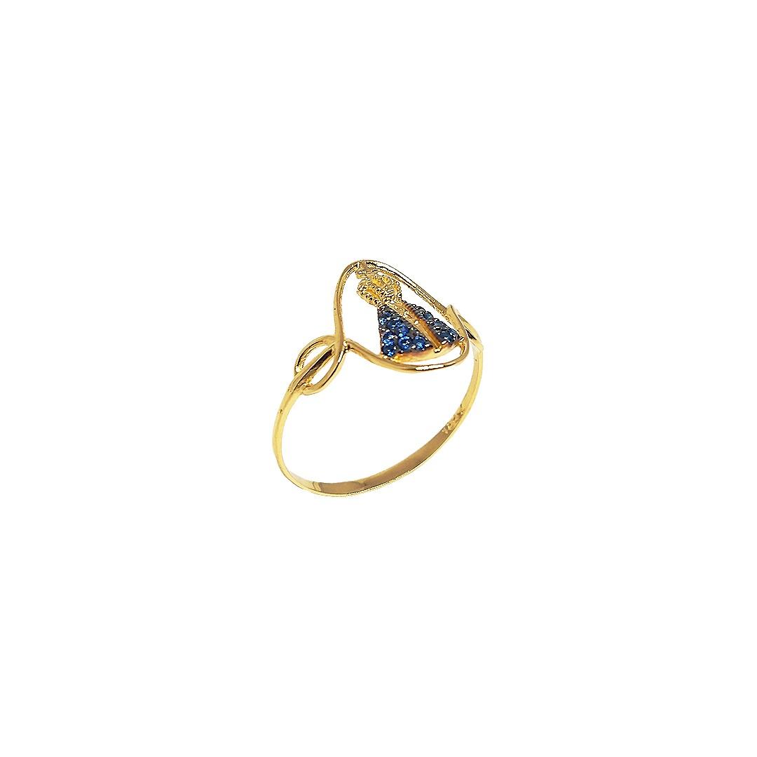 Anel Nossa Senhora Ouro18K manto Zirconias Azuis N17