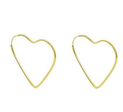 Argola Coração Ouro 18K 2,2cm