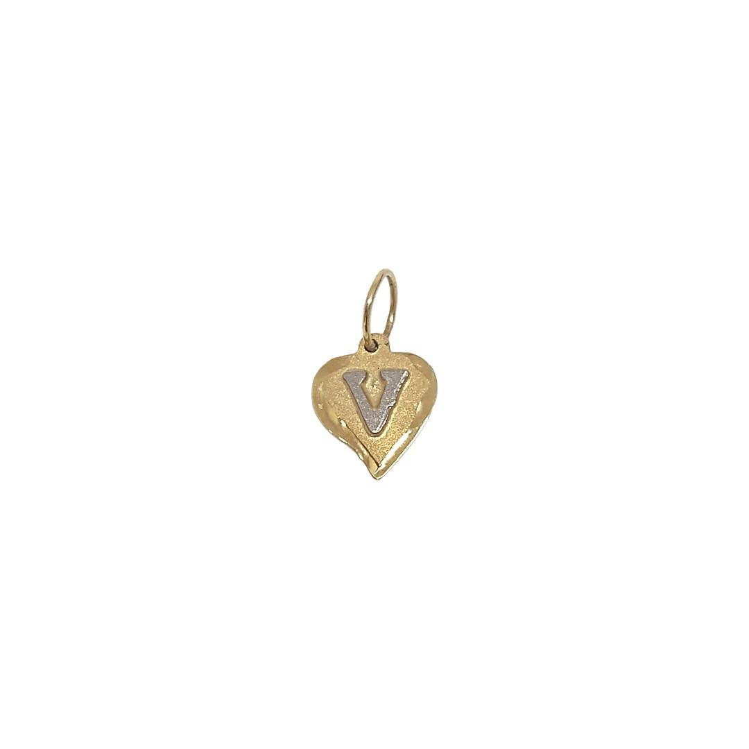 Pingente Coração Letra V Ouro 18K