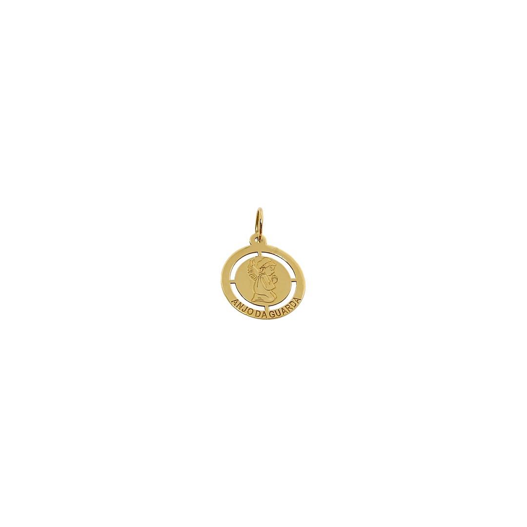 Pingente Medalha Anjo da Guarda Ouro18K