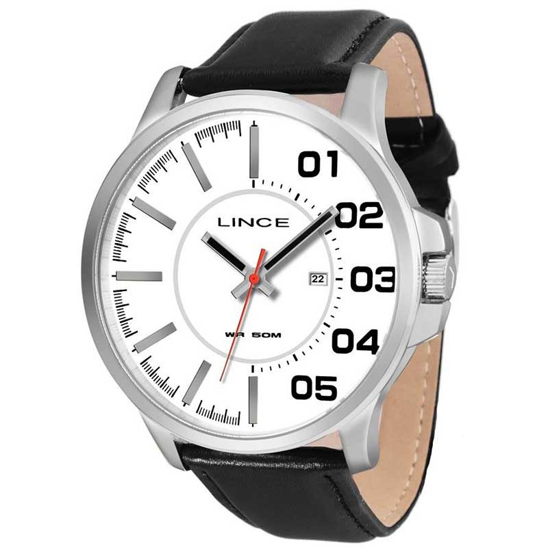 Relógio Lince Analógico Pulseira de Couro Preta MRCH020S