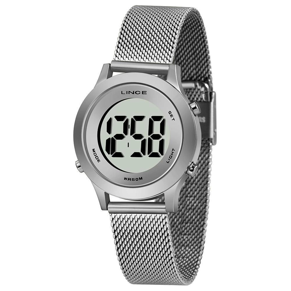 Relógio Lince Digital Prata Feminino Redondo SDPH111L BXSX