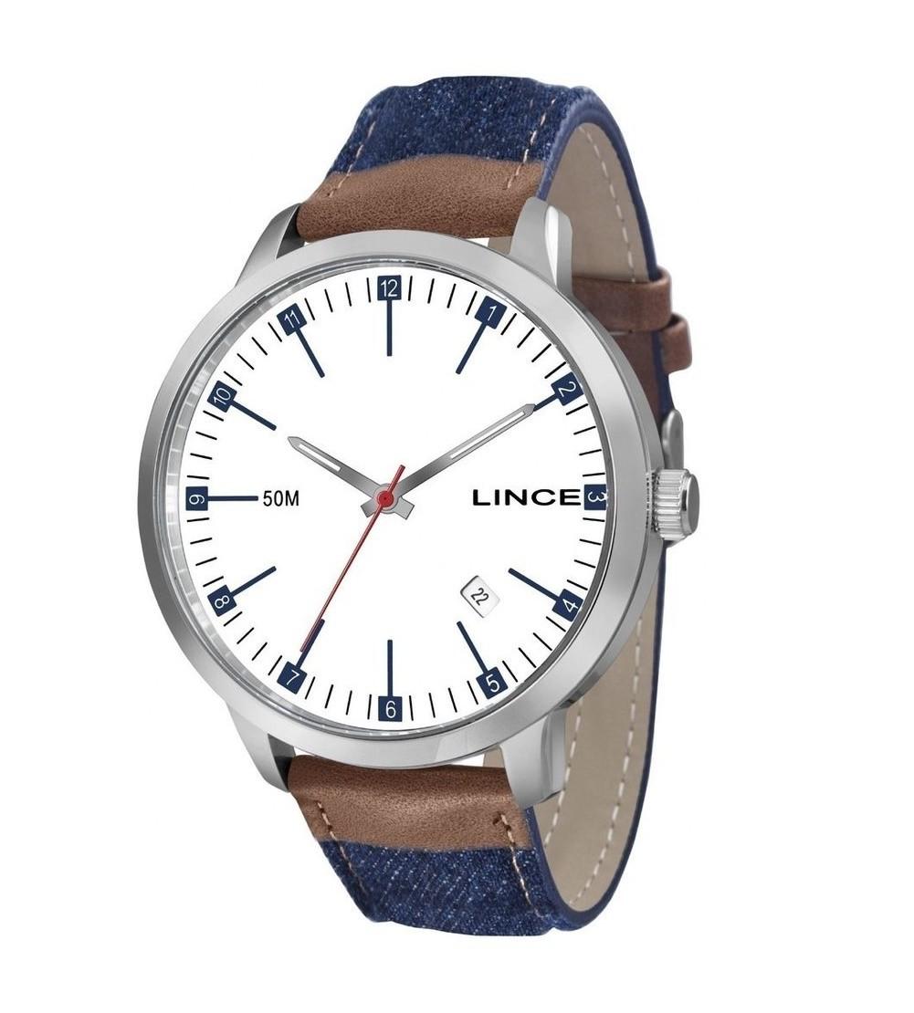 Relógio Lince Prata com Pulseira Jeans Masculino MRC4350S