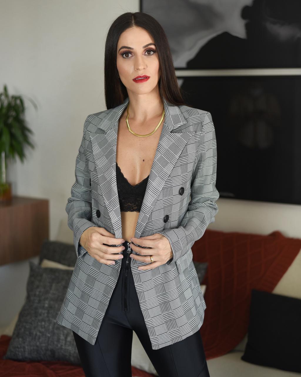 BLAZER ALFAITARIA XADREZ - CINZA
