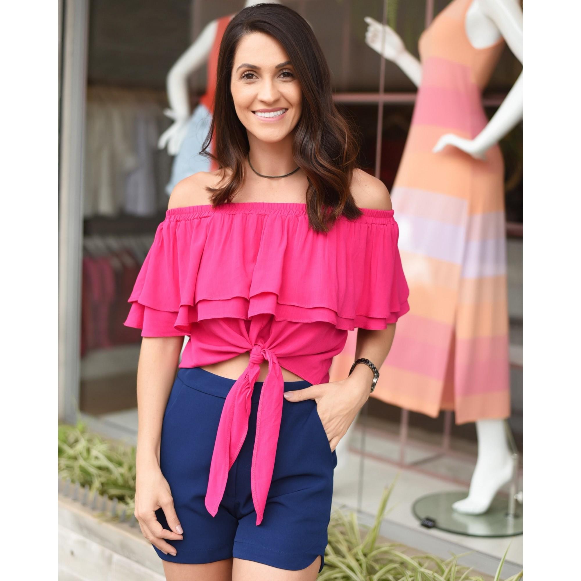 Blusa Ciganinha Com Amarração - Pink