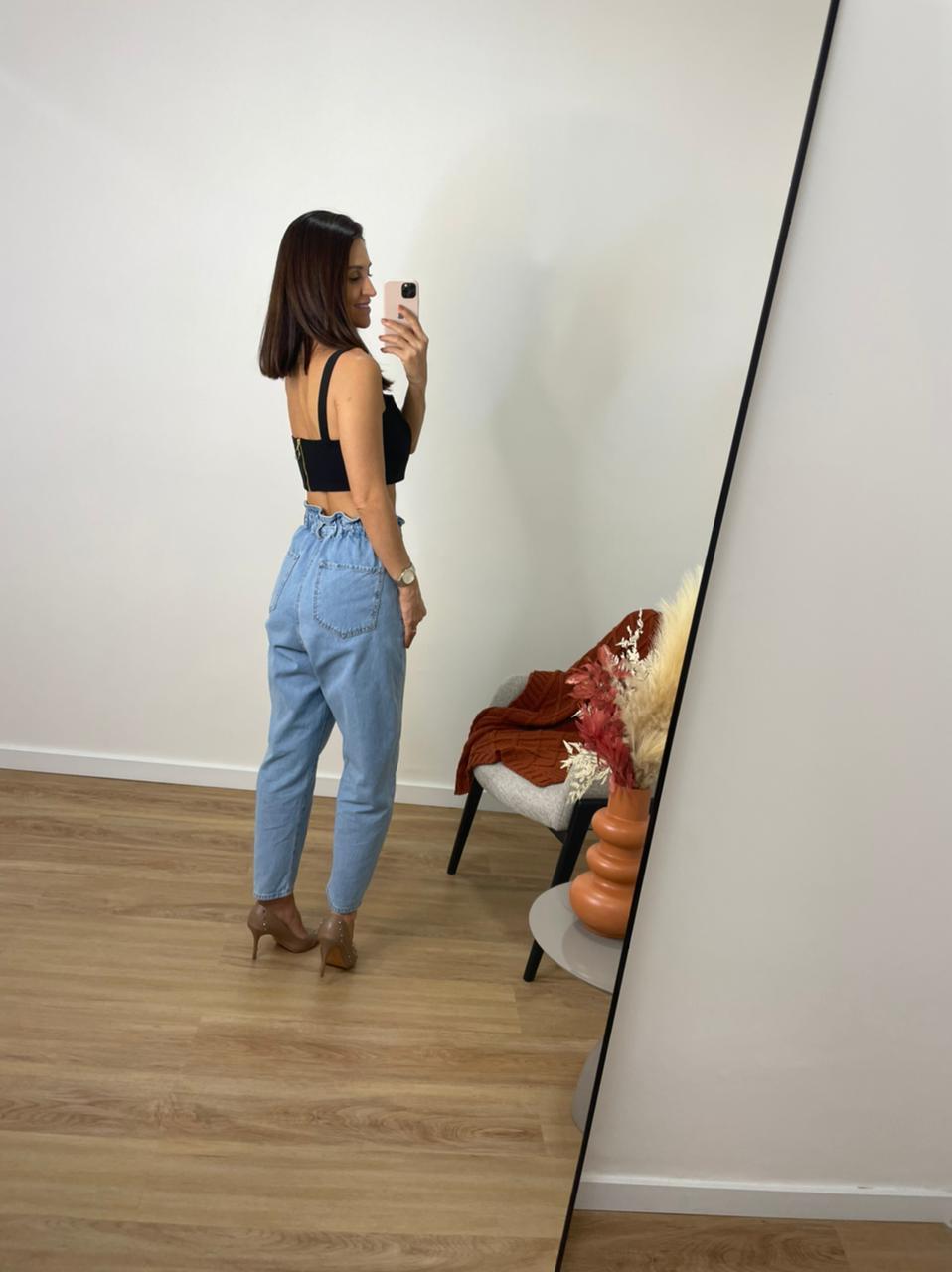 Calça Feminina Mom com Elastico - Jeans Claro