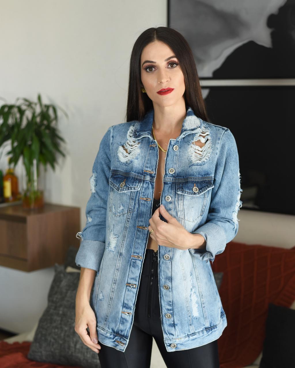 JAQUETA FEMININA MAX - JEANS CLARO