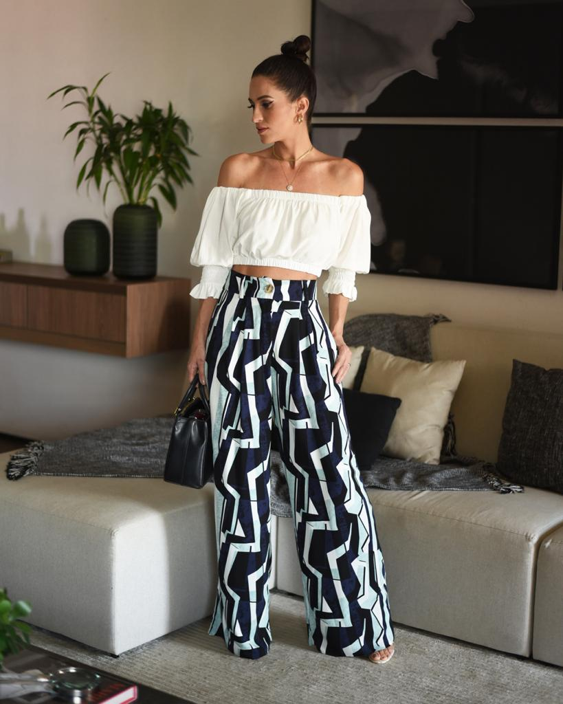 TOP CROPPED OMBRO A OMBRO - OFF WHITE