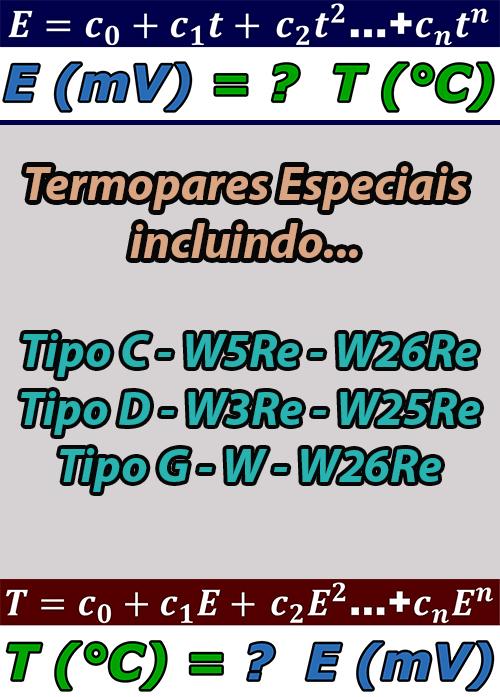 Planilhas com os Polinômios dos Termopares Especiais (incluindo Tipo C, D e G)