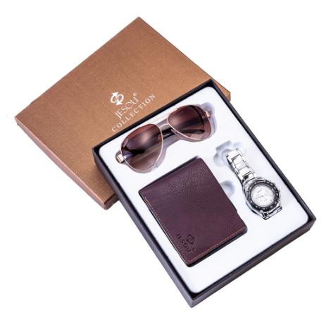 Kit Presente para Homens com 1 Relógio + 1 Óculos de Sol + 1 Carteira em Couro