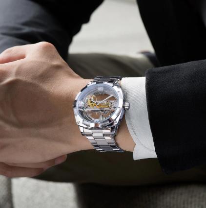 Relógio Forsining full transparente