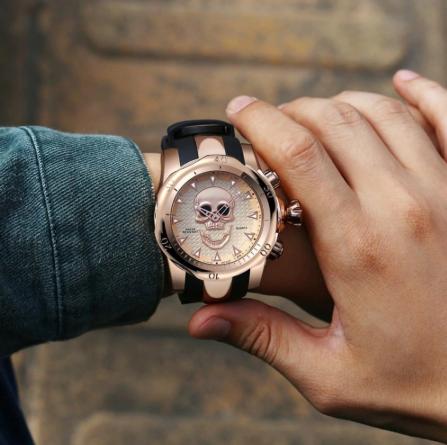 Relógio Masculino Big Dial Skull - Aço Inox