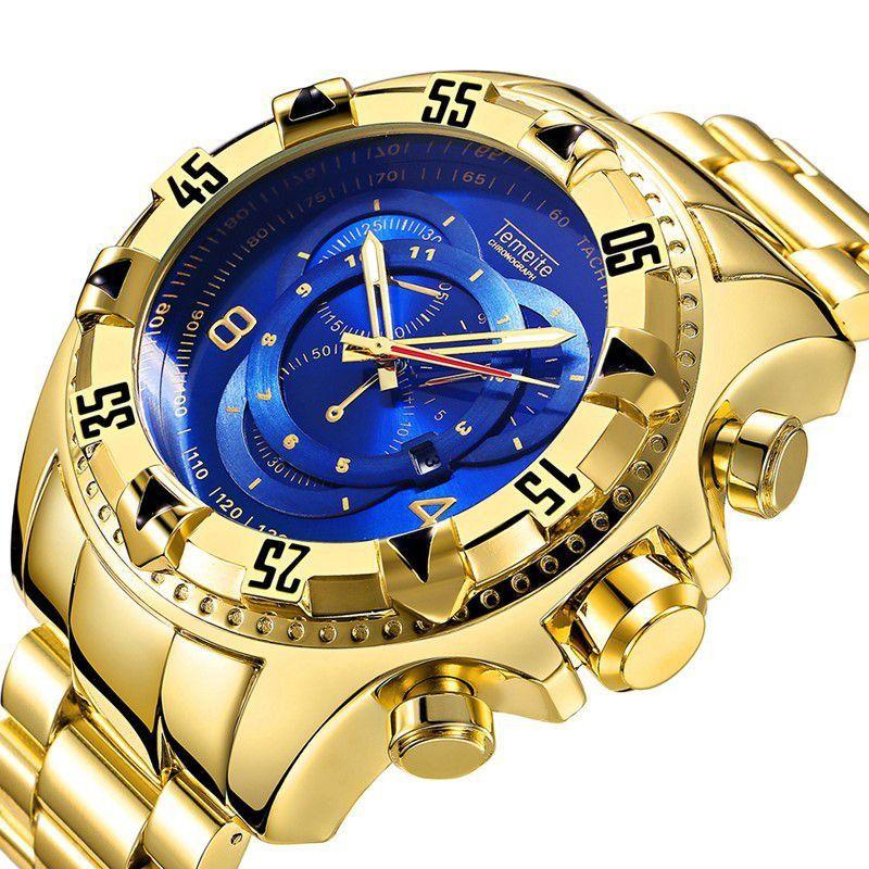 Relógio Masculino Dourado Temeite Reserve