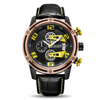 Relógio militar megir pulseira de couro extremo
