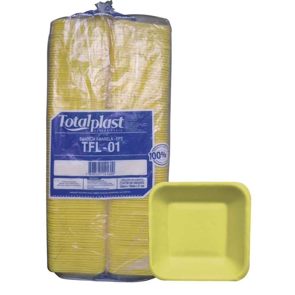 BANDEJA ISOPOR EPS TFL-01 FUNDA AMARELA 150X150X27MM TOTALPLAST 400UND