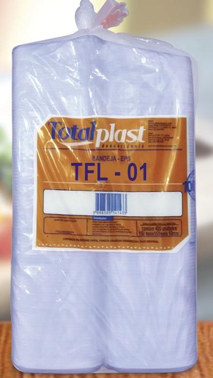 BANDEJA ISOPOR EPS TFL-01 FUNDA BRANCA 150X150X27MM TOTALPLAST 400UND
