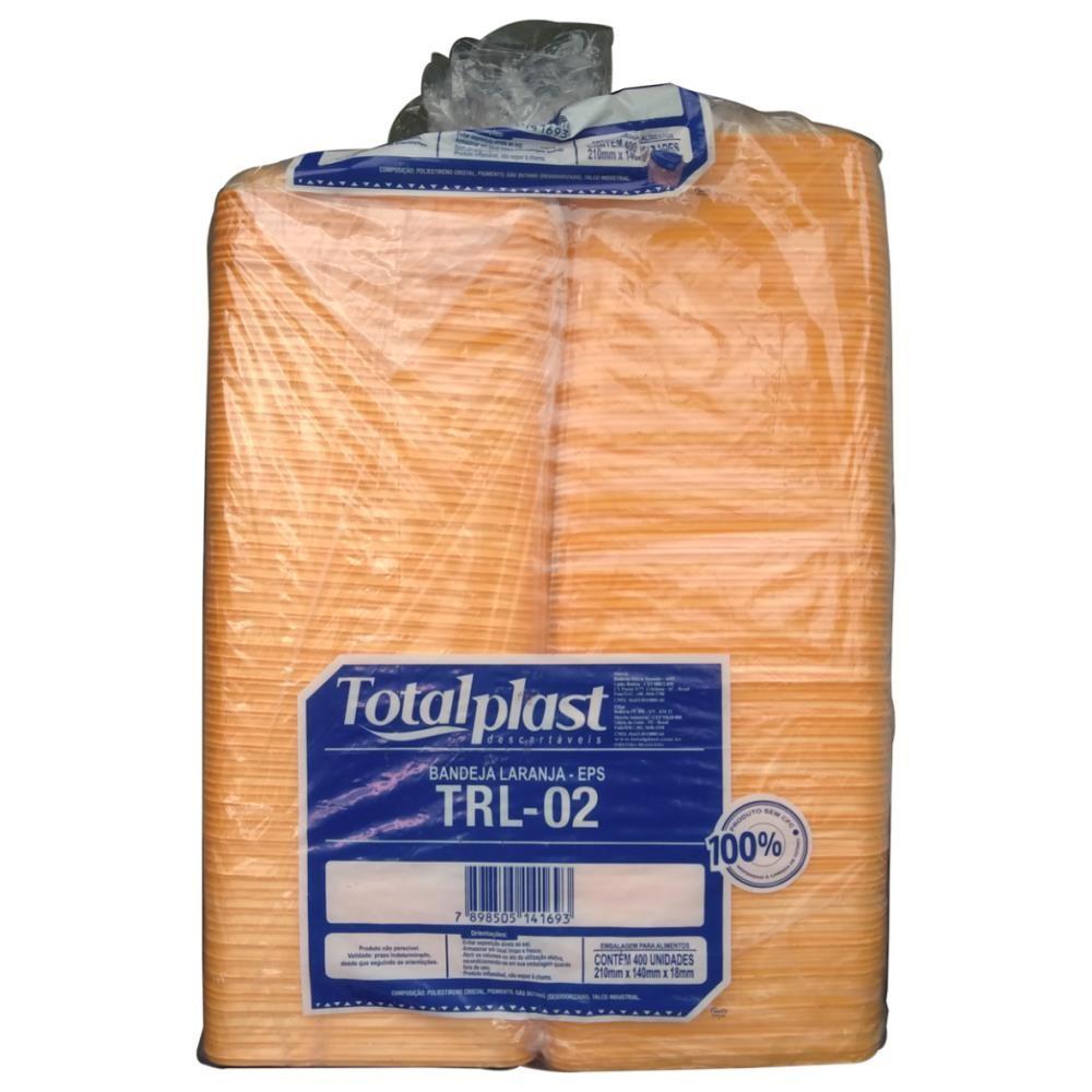 BANDEJA ISOPOR EPS TRL-02 RASA LARANJA 210X140X18MM TOTALPLAST 400UND