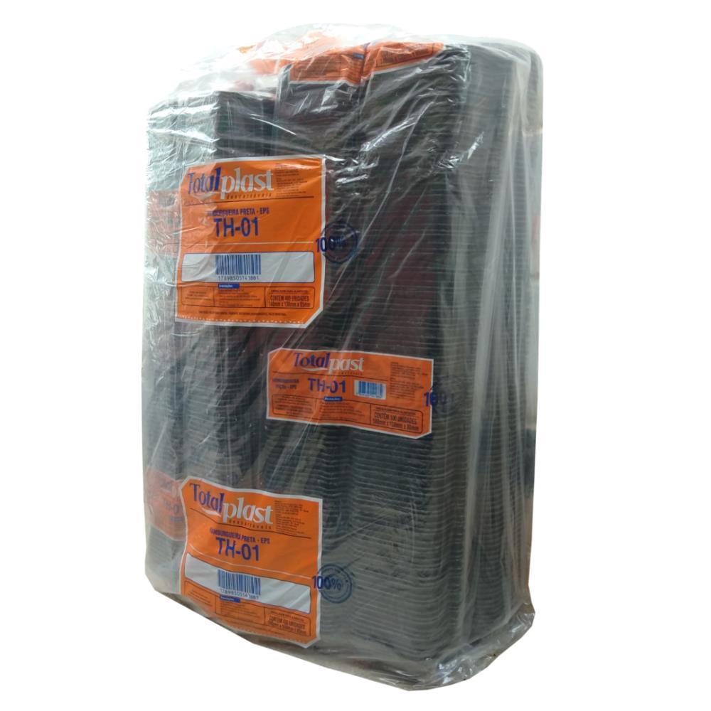 HAMBURGUEIRA ISOPOR EPS TH-01 PRETA 140X130X85 TOTALPLAST 400UND
