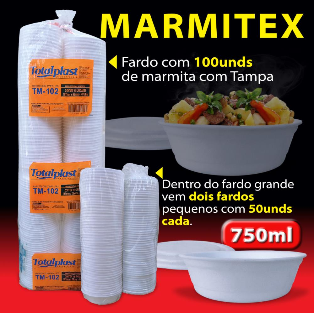 MARMITEX ISOPOR EPS C/T TM-102 BRANCA 187X52MM 750ML TOTALPLAST FD 100UND