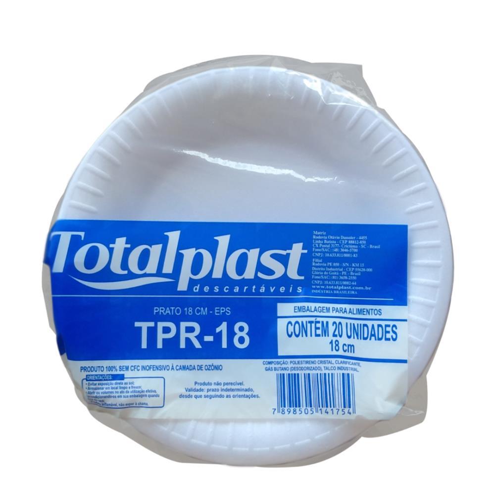 PRATO ISOPOR EPS BRANCO TPR-18 18CM TOTALPLAST 20X20UND
