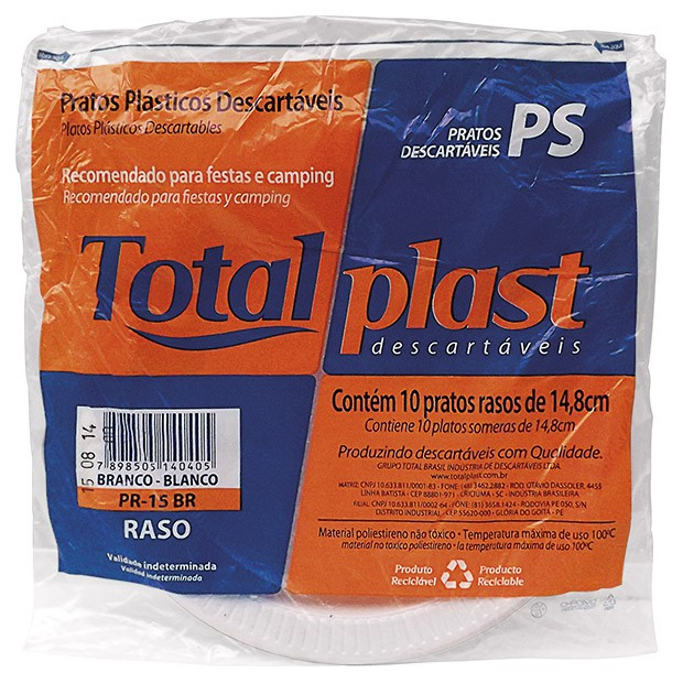 PRATO ISOPOR EPS BRANCO TPR-23 23CM TOTALPLAST 10X20UND