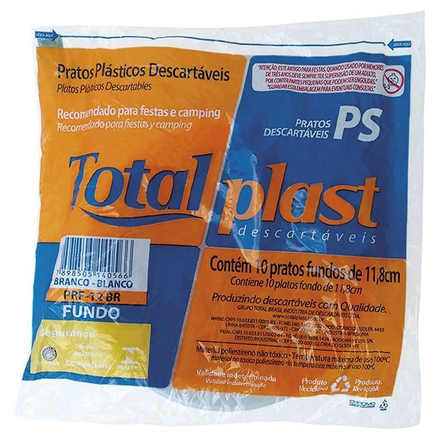PRATO PLAST BRANCO PRF-12BR 12CM FUNDO TOTALPLAST 100X10UND