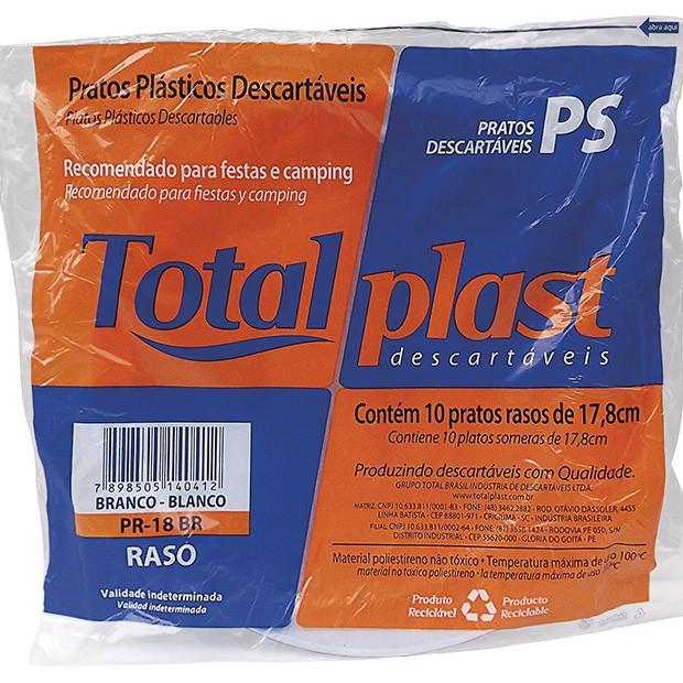 PRATO PLAST PS BRANCO PR-18BR 18CM RASO TOTALPLAST 50X10UND