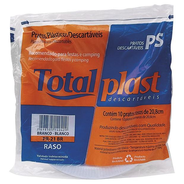 PRATO PLAST PS BRANCO PR-21BR 21CM RASO TOTALPLAST 50X10UND