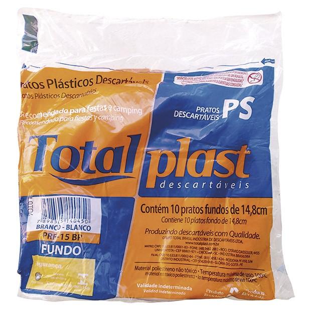 PRATO PLAST PS BRANCO PRF-15BR 15CM FUNDO TOTALPLAST 100X10UND