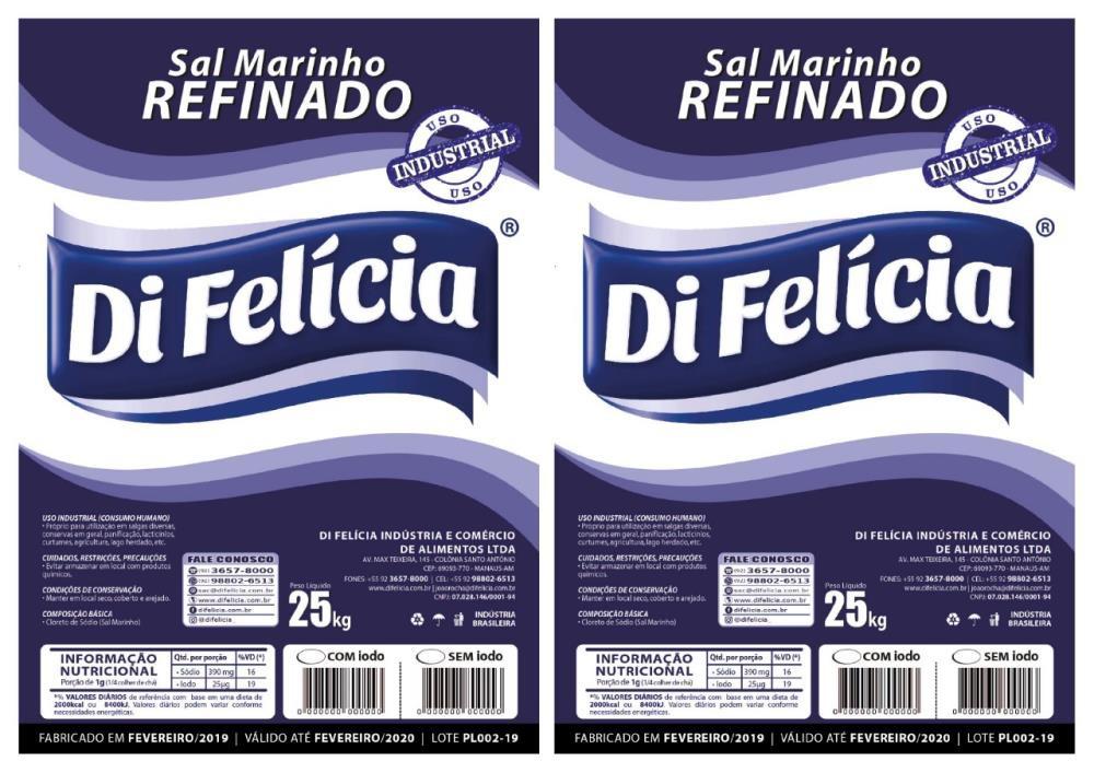 SAL MARINHO REFINADO SEM IODO DI FELICIA SACO 25KG