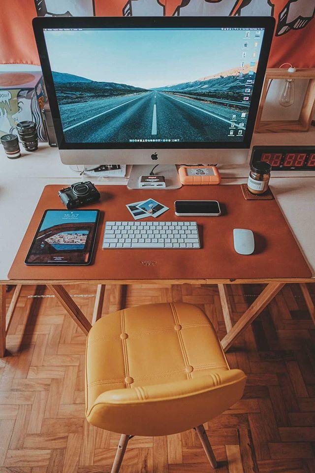Deskpad em Couro Caramelo 90x45